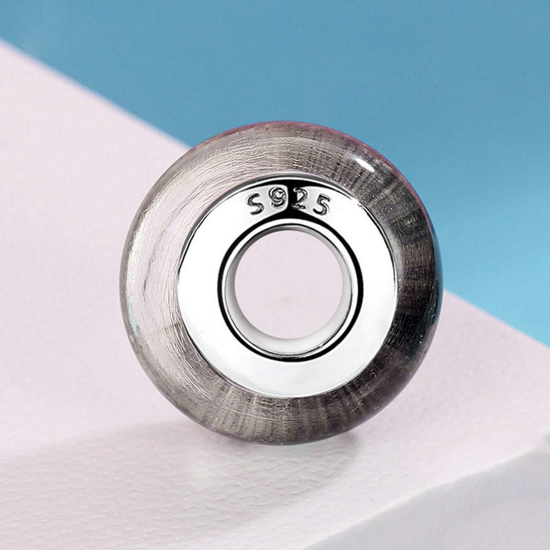 EverReena Beads Black Bubble Murano Glass for Silver Bracelets