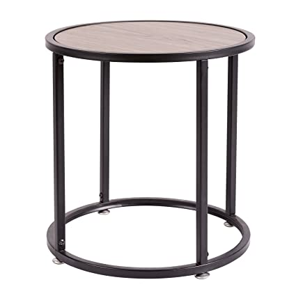 HollyHOME Small Wood Round Coffee Table,15.7u0026quot;x15.7u0026quot;x18.9u0026quot