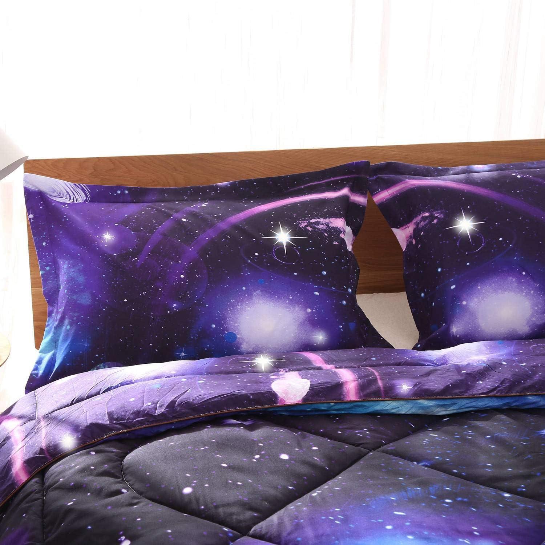 Purple Blue Starry Duvet Cover Set Super Soft Bedding Set KidTeenAdult Bed Set AUUSCustom Size Bedding Set 3D Universe Duvet Cover Set