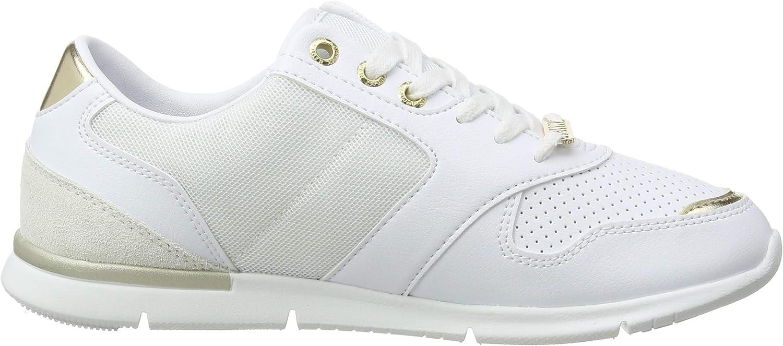 Tommy Hilfiger Metallic Lightweight Sneakers, Scarpe da Ginnastica Basse Donna Bianco White Light Gold 0k7 HLjxNu