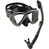 Cressi Panoramic Wide View Mask Dry Snorkel Set, Black/Silver