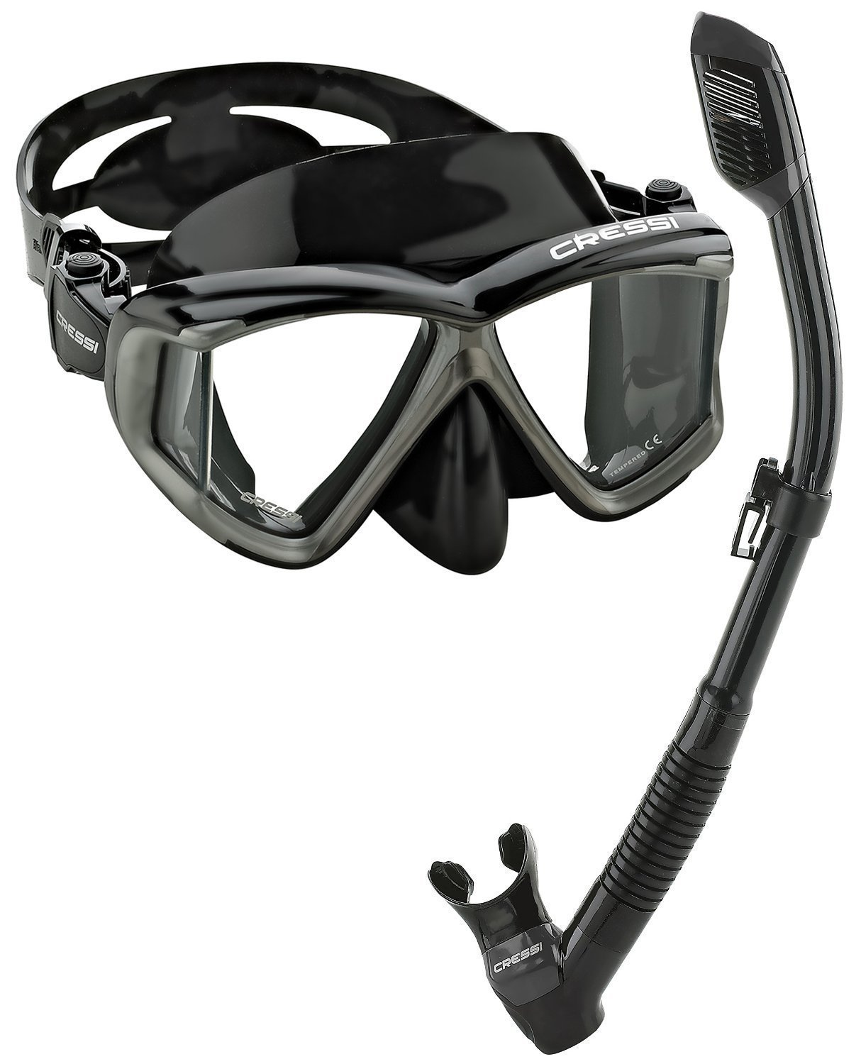 Cressi Panoramic Wide View Mask Dry Snorkel Set, Black/Silver by Cressi