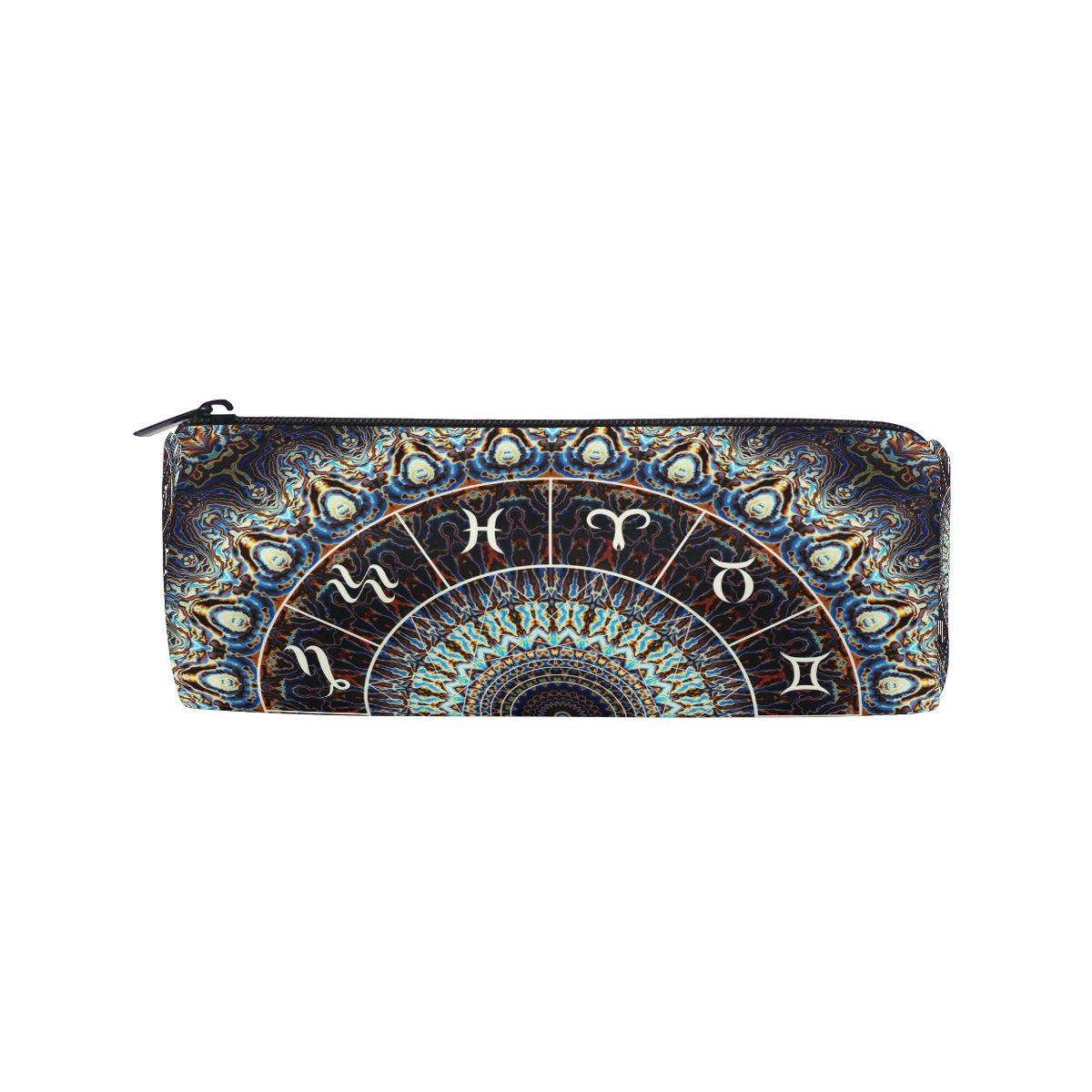 AHOMY India Mandala Constellation Round Pencil Case Stationery Bag Zipper Pouch Pencil Holder