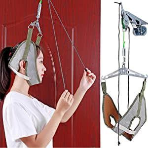 Funwill Neck Cervical Traction Device for Neck Shoulder Pain Brace Relief Head Over Door Frame,Neck Traction Stretcher Adjustable Home Physical Therapy for Spine Alignment