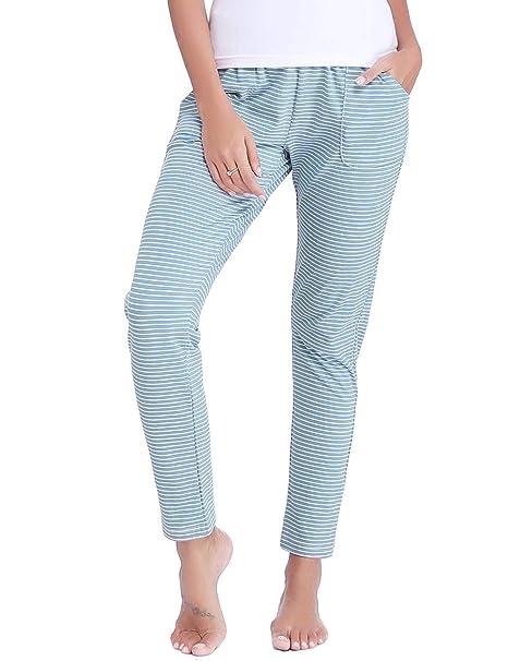 Aibrou Pantalones de Pijama Mujer Invierno Pantalón Largo Algodón de a  Rayas Otoño d264d3a0eaa1