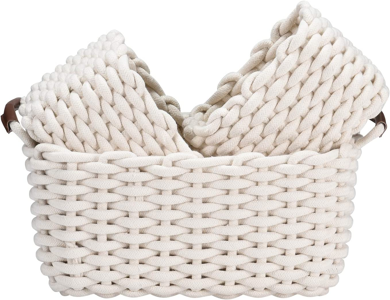 Cotton Rope Storage Basket Kids Storage Organizer Candy Food Handmade Woven Baskets for Nursery Baby Clothes Towels Diaper Caddy Books 3 Pack