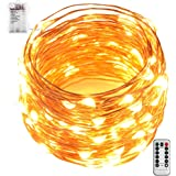 GardenDecor Led String Lights 100 Leds Waterproof Decorative Fairy Battery Powered String Lights with Remote and Timer, Copper Wire light for Bedroom,Wedding(33ft/10m Warm White)