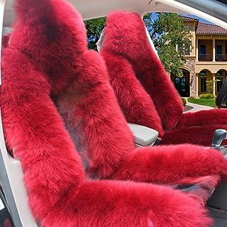 A Car mats DD Coussin De Voiture en Laine Pure Voiture d'hiver 4 Saisons Coussin De Siège Siège Commun Red
