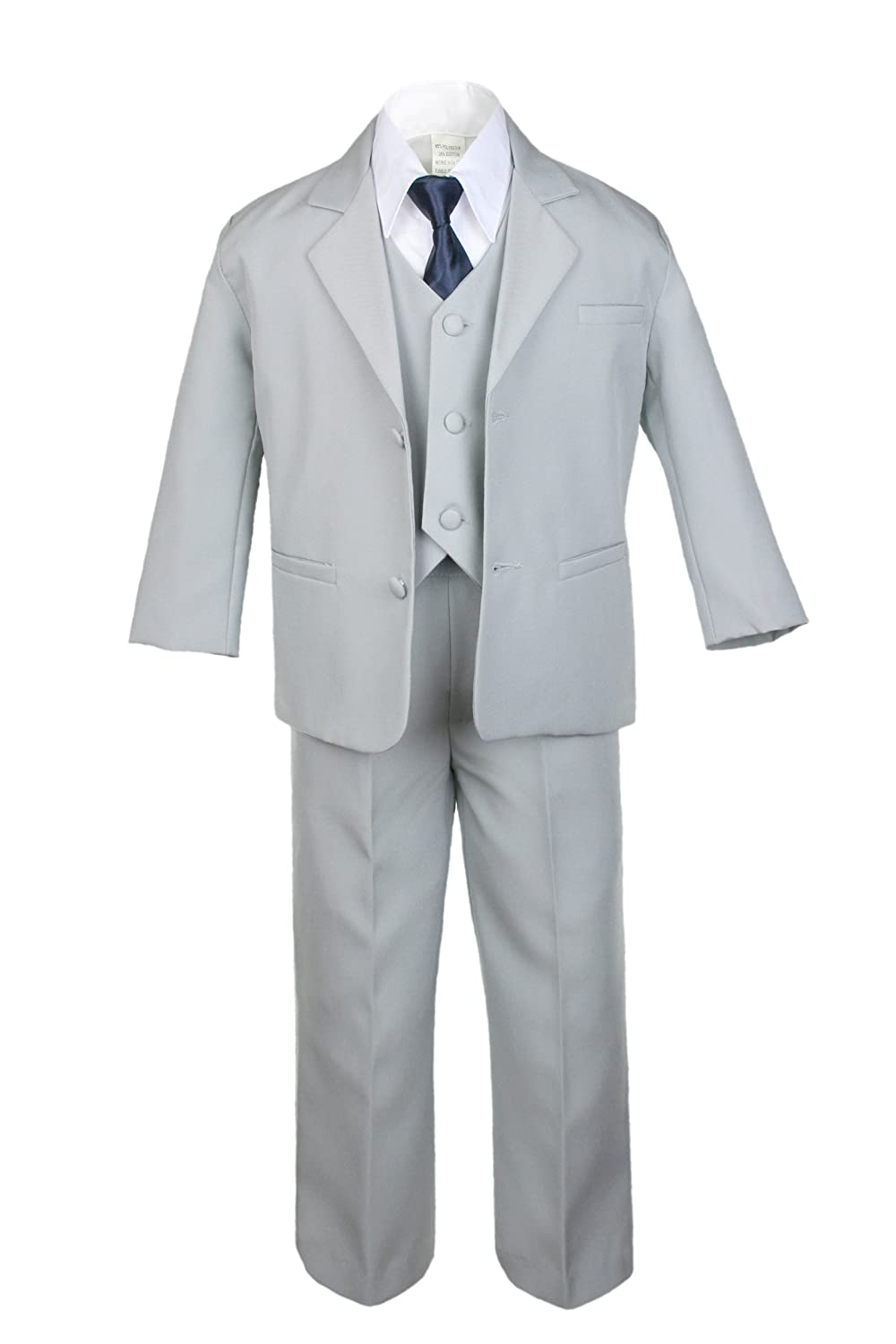 6pc Boy Gray Vest Set Suit with Satin Navy Necktie Outfit Baby to Teen (7)