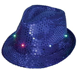 Bits and Pieces - Blue Flashing Sequin Hat - Light Up LED Party Hat Melville Direct .