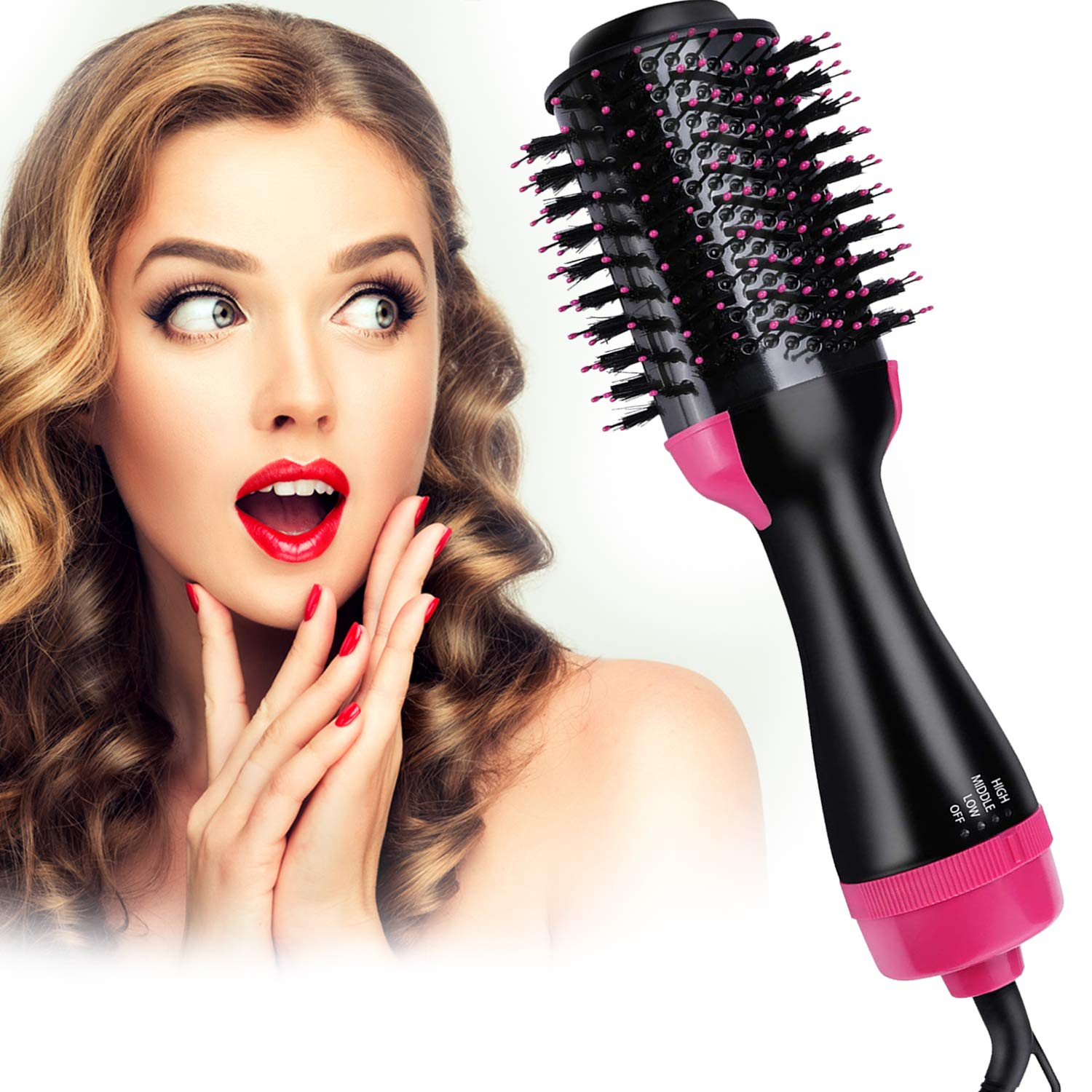 Hot Air Brush 4 IN 1 Hair Dryer Brush,Electric One Step Hair Dryer & Volumizer & Styler,Salon Hair Straightener Static Suitable for All hair Anti-Scald by MAN NUO