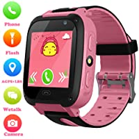 Girls Boys Smartwatch - AGPS/LBS Position Tracker Child SOS Alarm Clock Wrist Watches Digital Camera Mobile Cell Phone Watch Best Gift Children for Kids Compatible with iOS/Android (Pink)