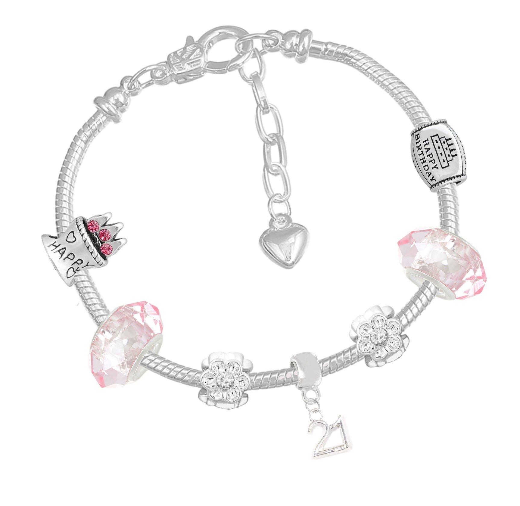 Charm Buddy Sparkly Ladies 21st Birthday Pink Silver Gift Box Charm Bracelet Birthday Card Set