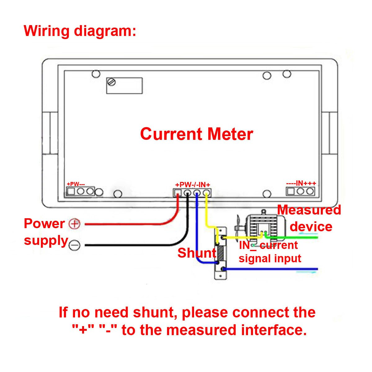 71y4ihHRXiL._SL1200_ amazon com drok small lcd digital blue backlight dc 500a ammeter drok voltmeter wiring diagram at gsmportal.co