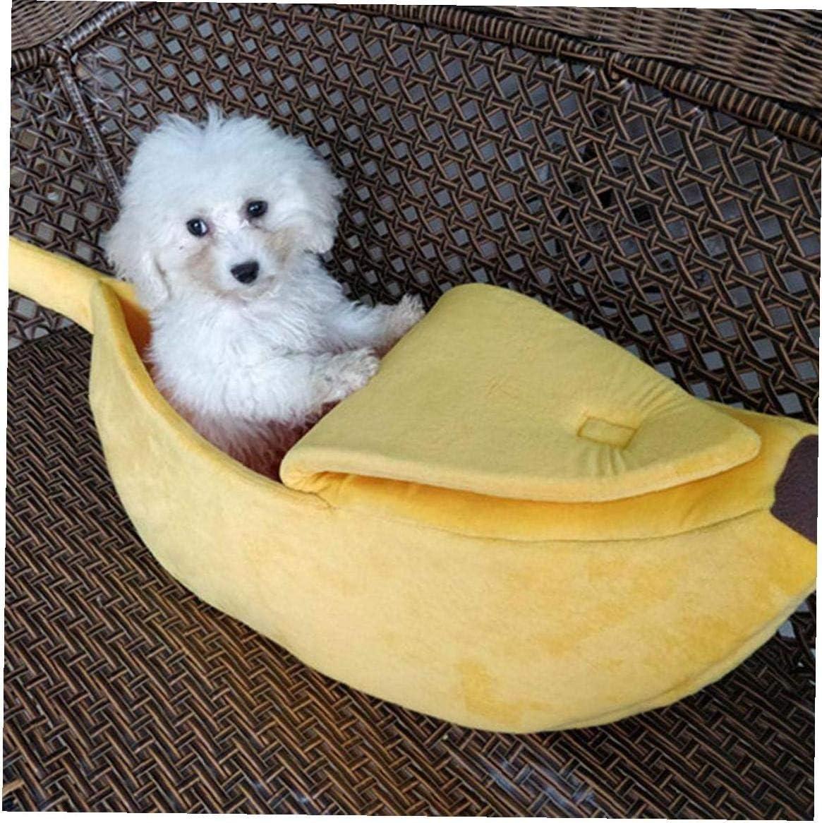 TYY-guang Cama del Animal dom/éstico Mullido Caliente Suave Felpa Cama Forma de pl/átano Suministros para Mascotas en Gatitos de los Gatos Conejo Perros peque/ños