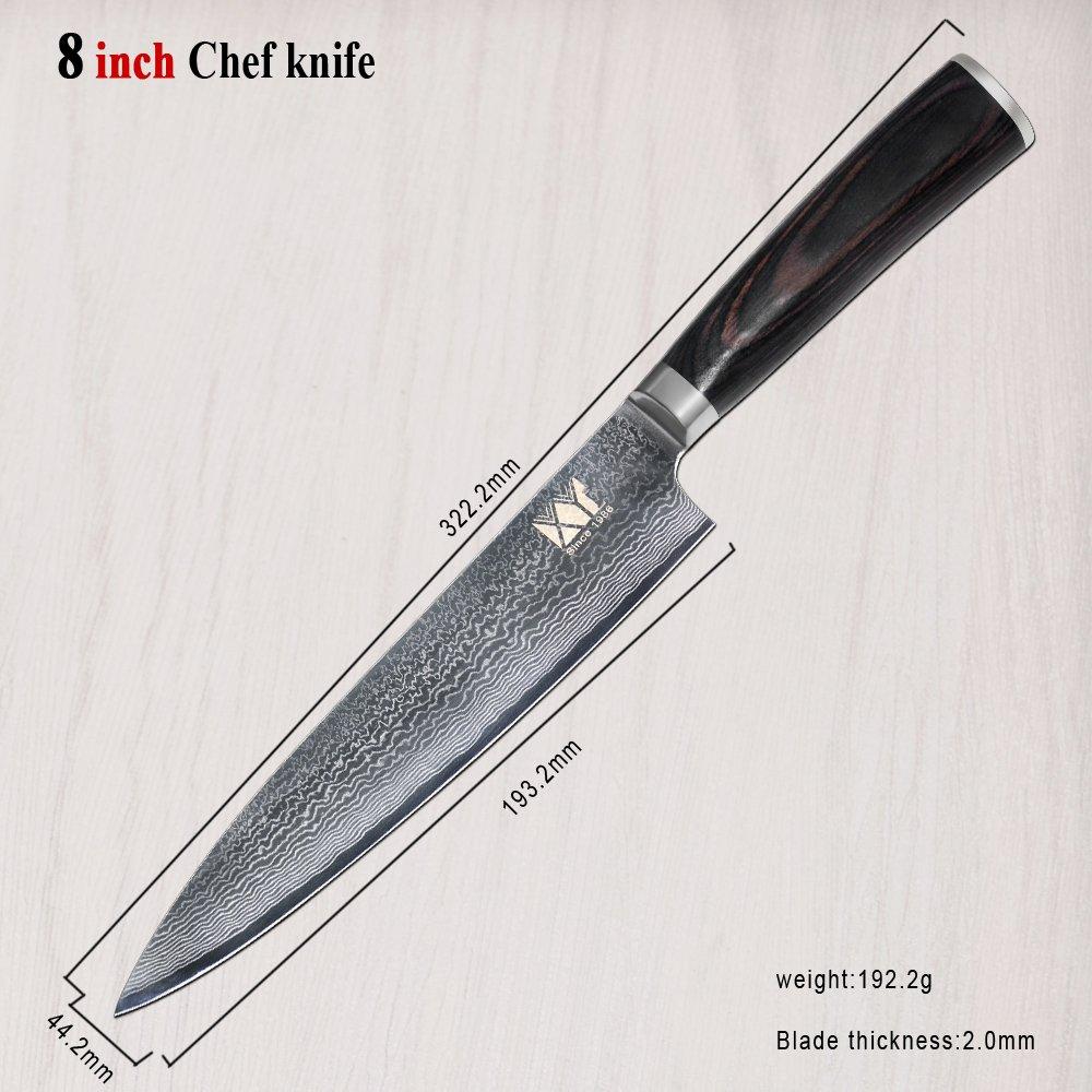 Amazon.com: XYJ VG10 Japanese Damascus Steel Chef Knife Set ...
