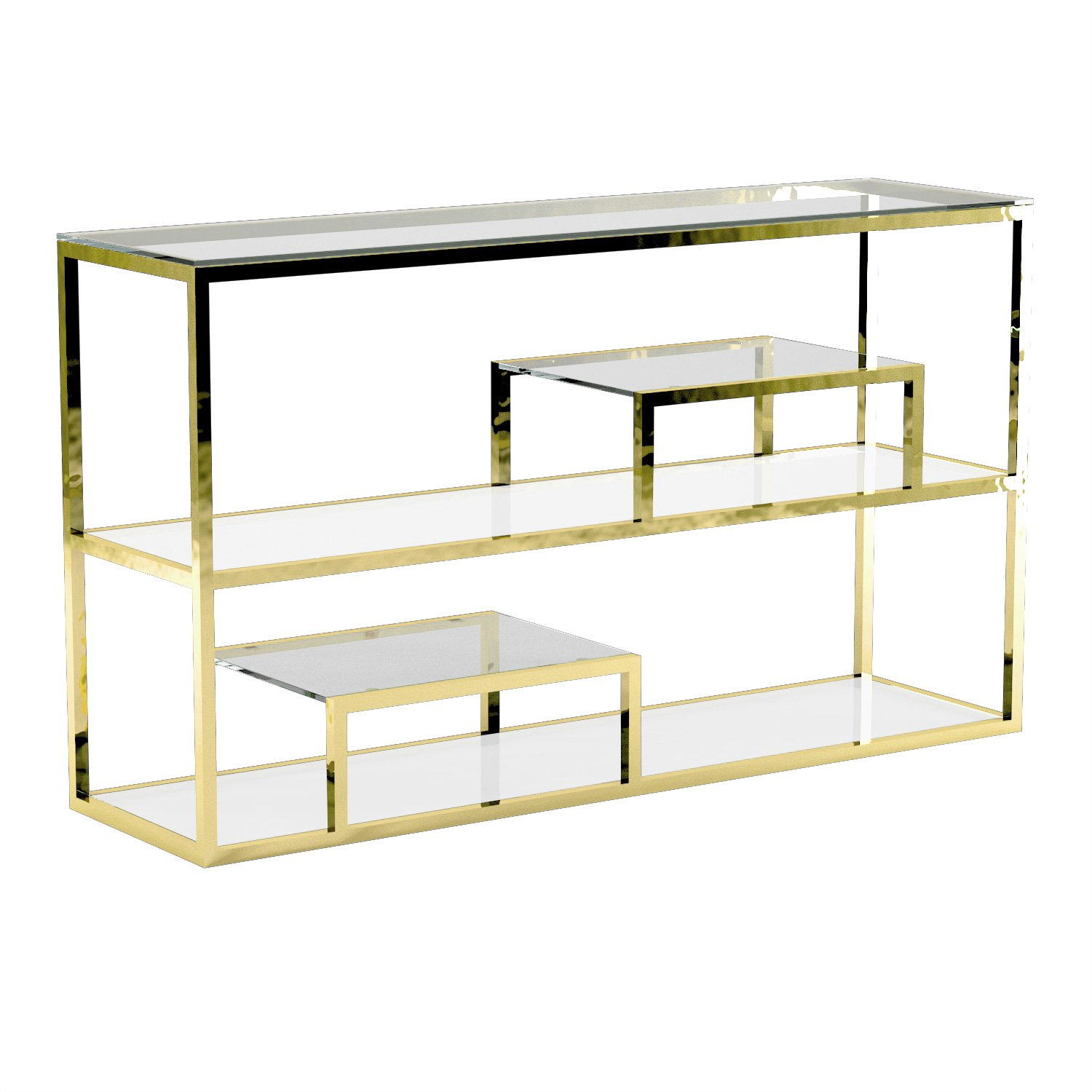 Uptown Club Gael Collection Modern Console Table With Three Tier Shelves and Tempered Glass Finish Gold by Uptown Club