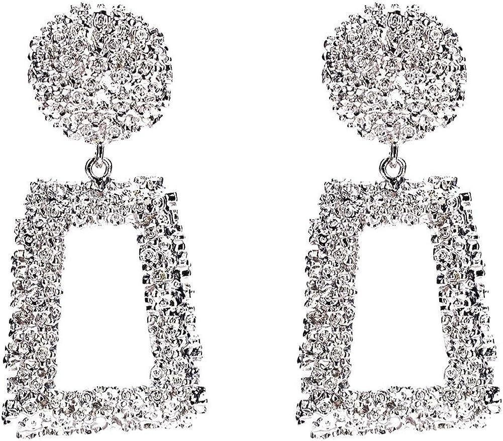 N// A Bijoux Boucles doreilles Pendantes Rondes Carr/ées///Noir Blanc pour Femme