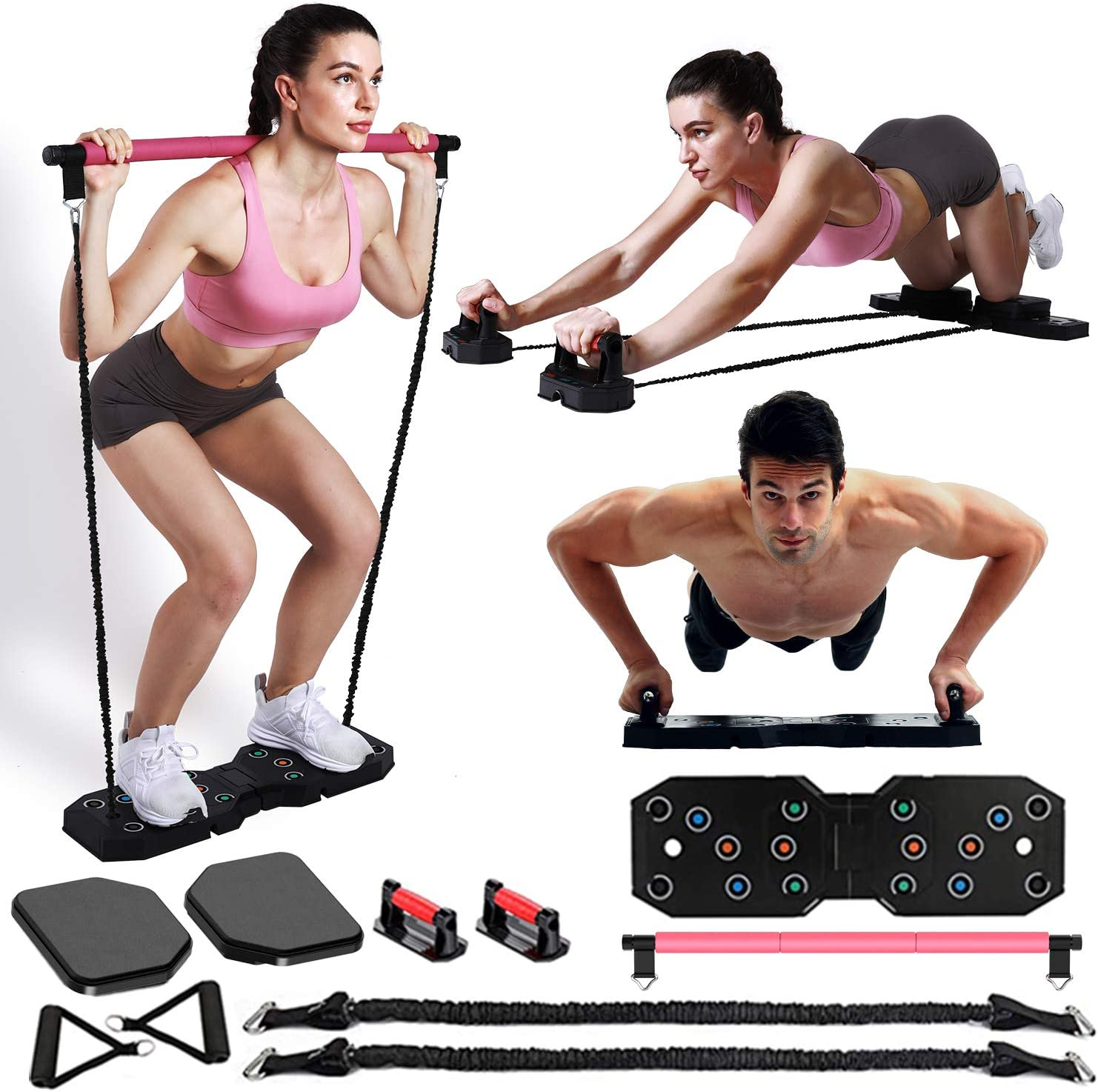 EAST MOUNT Portable Home Gym Workout Equipment, Exercise Equipment with Pilates Bar Resistance Bands Ab Wheel, Full Body Workout to Build Muscle and Burn Fat.