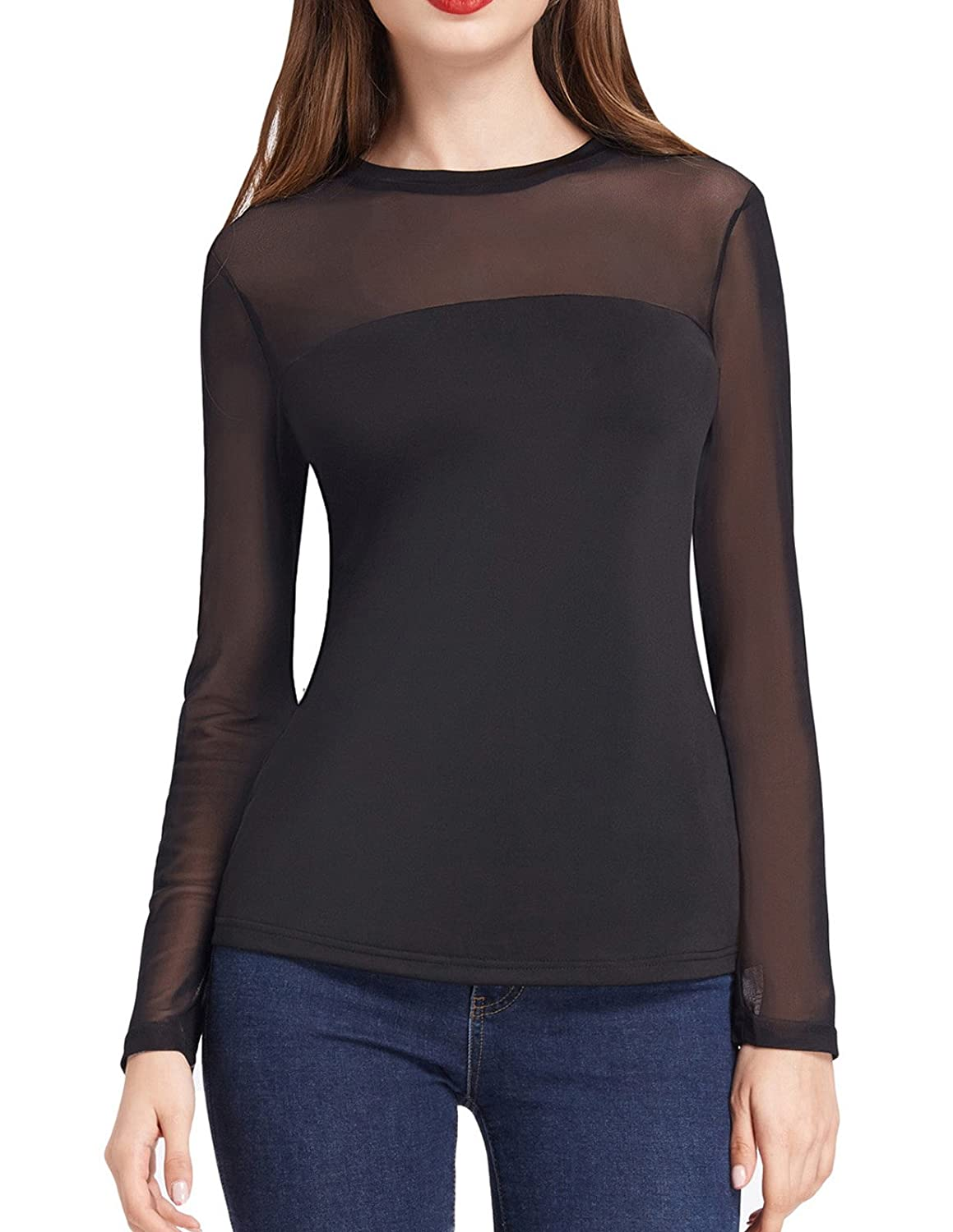 34f8e5c3 Pure mesh overlay has a subtle shimmer to elevate your look. This classic  black/white sheer T-shirt is easy to pair with the shoes and pants, ...
