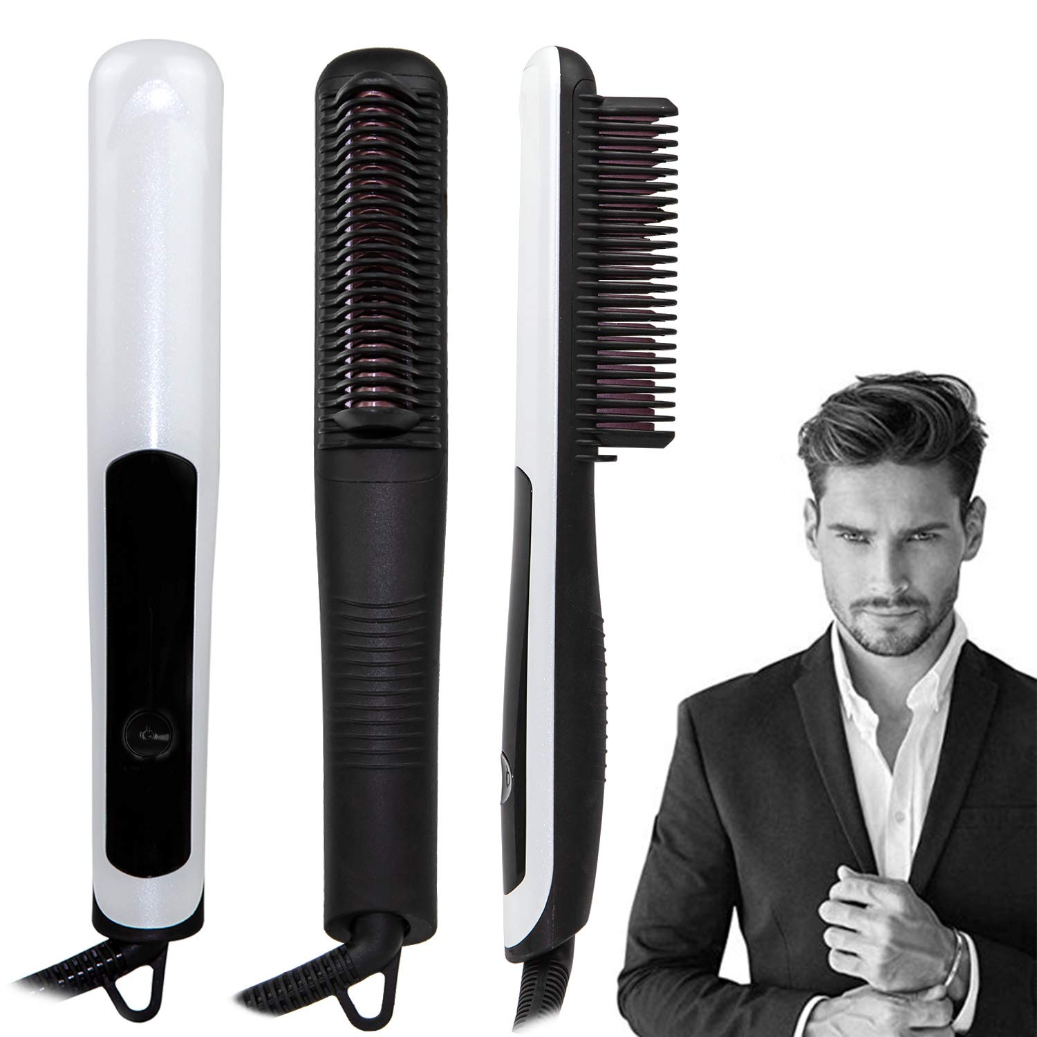 Beard Straightener, Multifunctional Hair Styler Hair Straightener for Men and Women 3 Heat Setting Ceramic Hair Straightening LED Display Anti-scalding Comb Teeth with Dual Voltage 110-240V