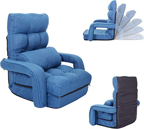 Sandinrayli Red Folding Floor Leisure Chair Adjustable 5-Position Lazy Sofa Cushion Couch w Armrest and Pillow Blue