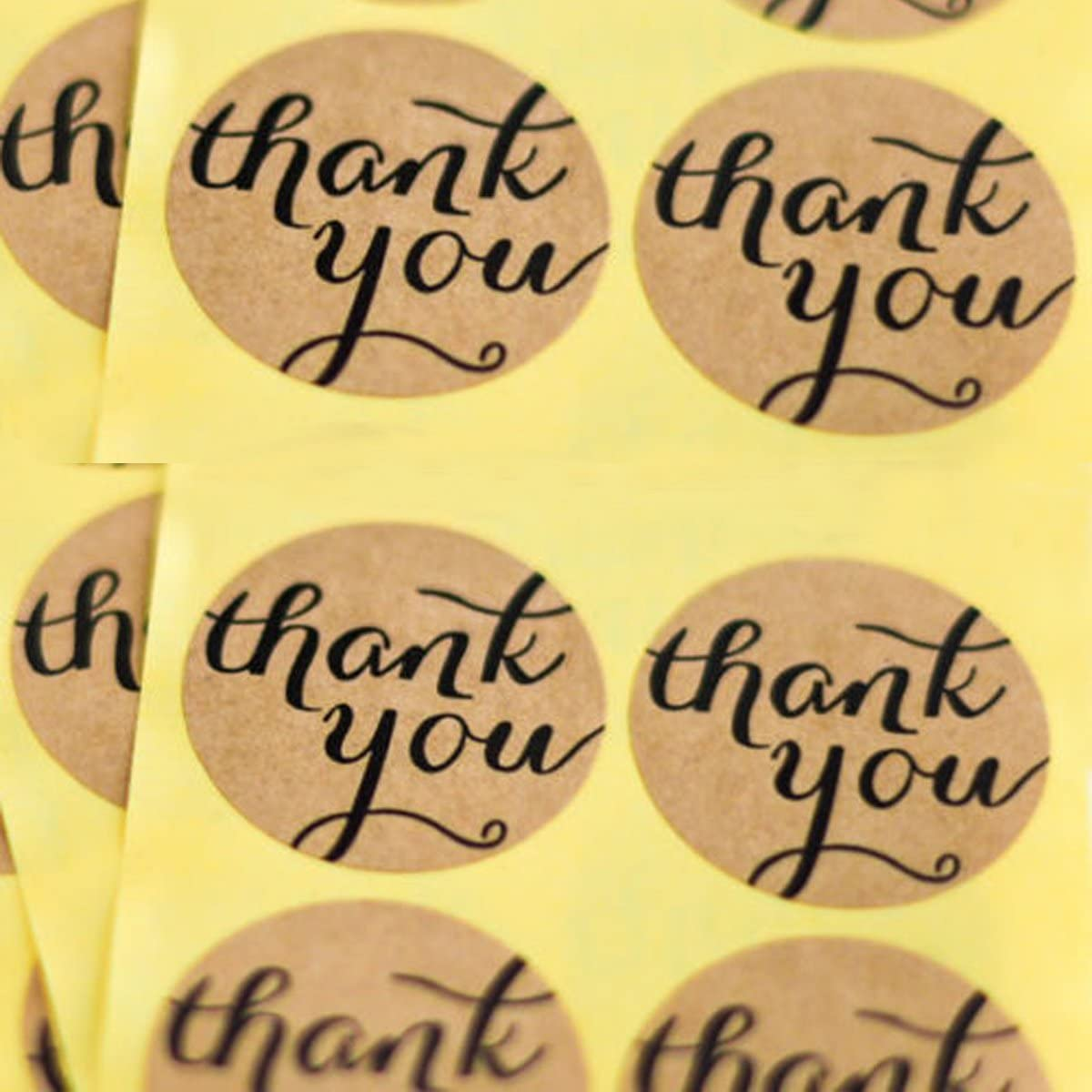 60 x Kraft Brown Thank You Round Heart Stickers Craft Labels Wedding Favours UK