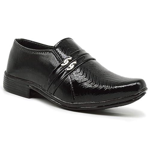 KingKarlos Kids Formal Black Shoes for