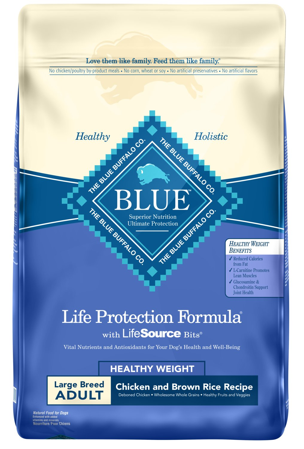 Blue Buffalo Life Protection Formula Healthy Weight Large Breed Dog Food - Natural Dry Dog Food for Adult Dogs - Chicken and Brown Rice - 30 lb. Bag by Blue Buffalo