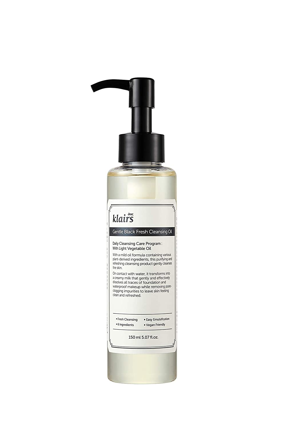 [DearKlairs] Gentle Black Fresh Cleansing Oil, 5.07 Fl Oz, a light and spreadable texture, only 6 ingredients