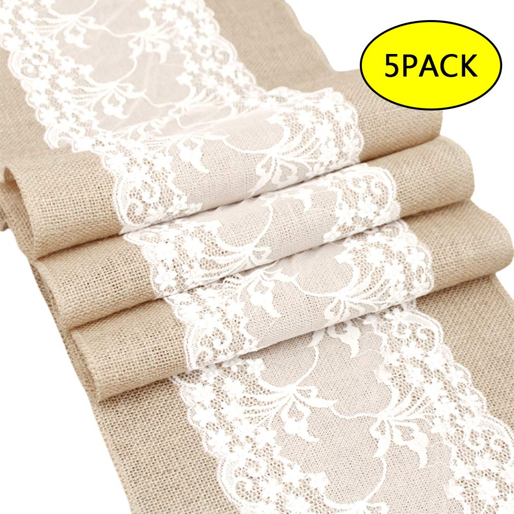 Newdanceus 12X108'' Set of 5 Burlap Lace Hessian Table Runner Rustic Natural Jute Country Wedding Party Dining Table Decoration Farmhouse Decor by Newdanceus (Image #1)