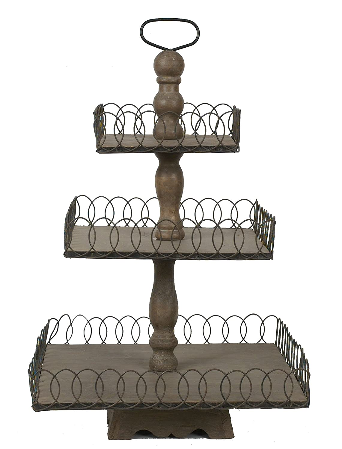 Creative Co-Op Grey Wood 3-Tier Tray DE1815