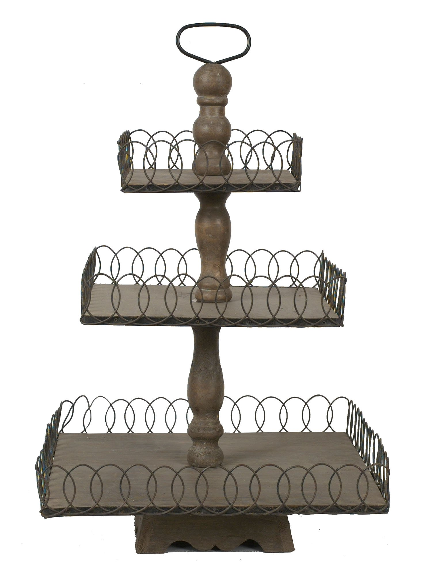 Creative Co-op Wood and Wire Grey Wash Three Tier Tray by Creative Co-op