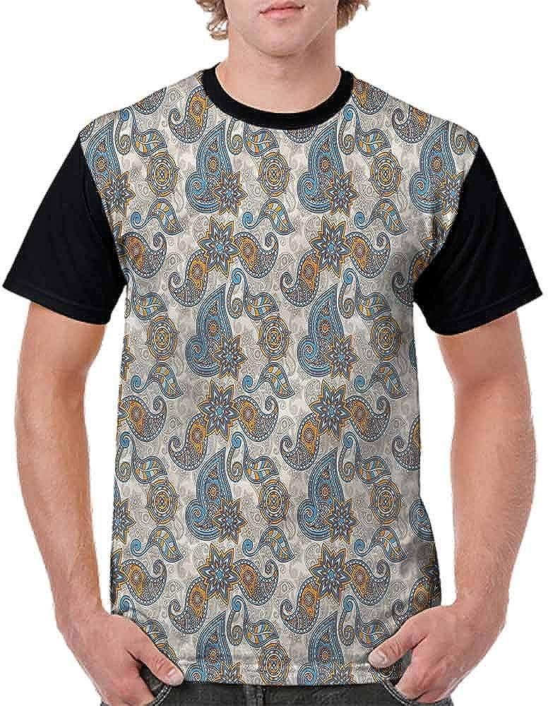 BlountDecor Classic T-Shirt,Monochrome Ornate Design Fashion Personality Customization