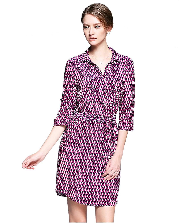 Sarah Dean Woman's Geometric Printed Shirt Collar Half Sleeve Dress