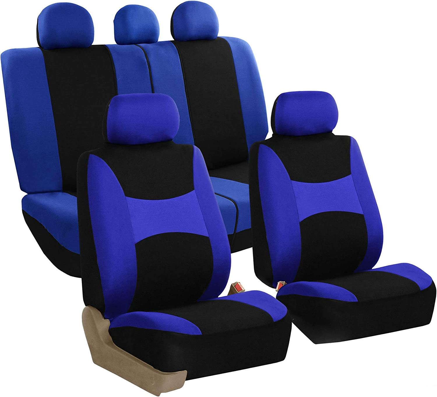 or Van Solid Black- Fit Most Car FH Group FB030115 Light /& Breezy Flat Cloth Full Set Car Seat Covers Set Airbag /& Split Ready w Truck Gift SUV