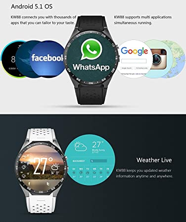 Amazon.com: King Wear KW88 3G WiFi Smart Watch Cell Phone ...