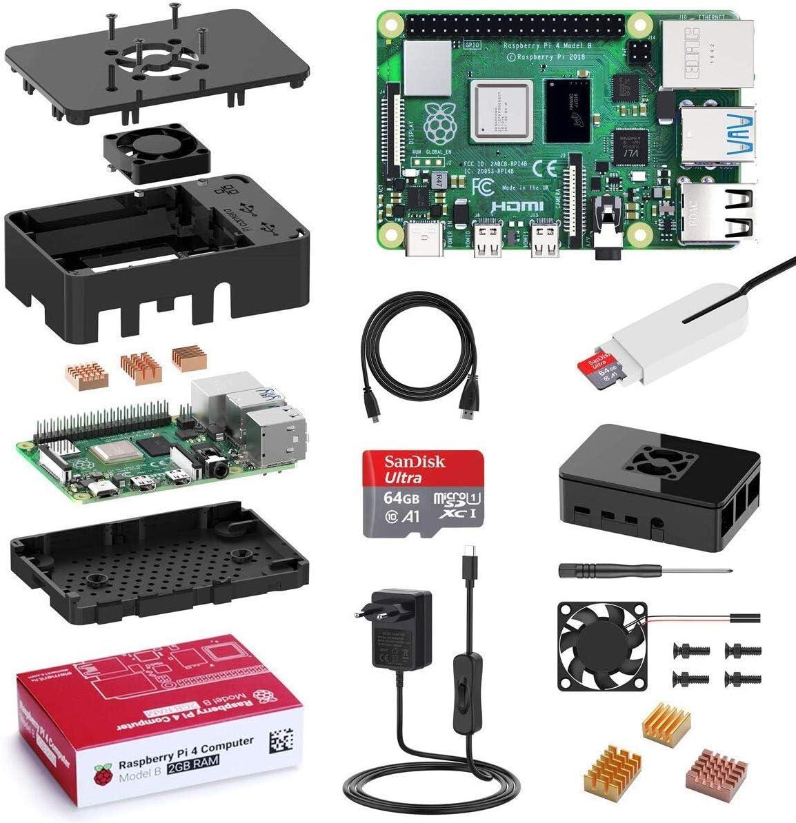 Bqeel Raspberry Pi 4 Model B 【2GB RAM+64GB SD Card 】con HD 4K,BT 5.0,WiFi 2.4G/5G/1000M Ethernet,2*USB 3.0/USB 2.0,USB-C Adaptador de Corriente con Interruptor