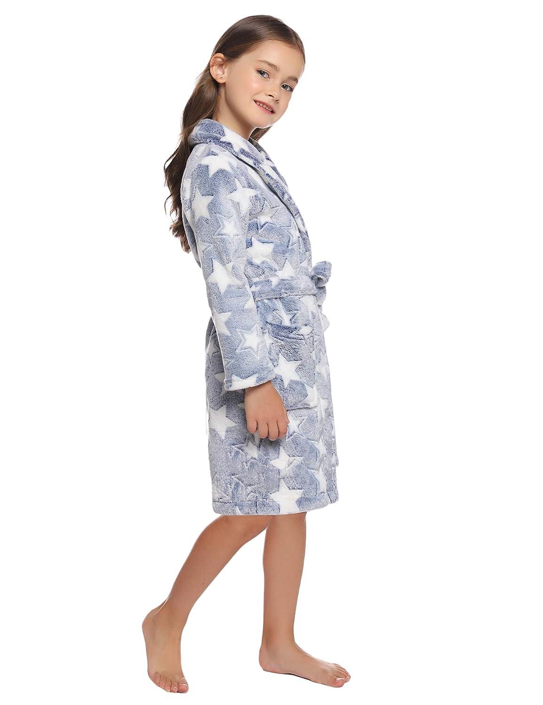 Flanella Accappatoio Unicorno Ragazza,Manica Lunga Cintura con Pigiami per Ragazze di 7-13 Anni Hawiton Vestaglia Morbido per Bambini Tutine Bambini Interi Inverno