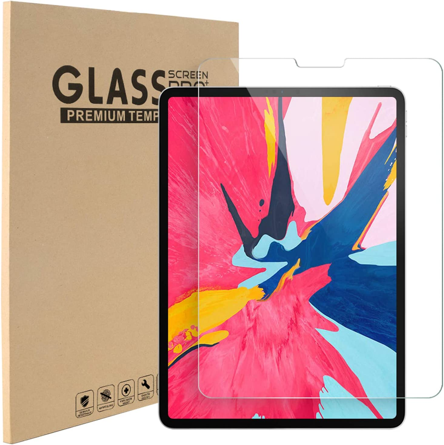 2 Pack Tempered Glass Screen Protector for iPad Pro 11, 9H Hard 0.30mm Bubble-Free Anti-Scratch Clear High Sensitivity Glass Film for Apple iPad Pro 11 2018 & 2020, Apple Pencil & Face ID Compatible