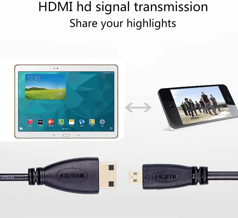 BronaGrand Micro HDMI Male Type D to Type C Mini HDMI Male Connector Adapter Cable Cord Black