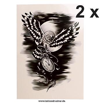Fliegende búho con reloj - schwares temporäres XL Body Tattoo - hb656, Negro, 2x Fliegende Eule mit Uhr Tattoo: Amazon.es: Hogar