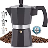 Zulay Classic Stovetop Espresso Maker for Great Flavored Strong Espresso, Classic Italian Style 5.5 Espresso Cup Moka Pot, Makes Delicious Coffee, Easy to Operate & Quick Cleanup Pot (Dark Grey)