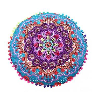 Cojines indio Mandala piso almohadas redondas de almohadas de cojín bohemio cubierta funda By LMMVP (43*43cm/(17.0*17.0