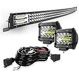 "KEENAXIS 42"" 576W Curved Spot Flood LED Light Bar W/ 2Pcs Work Lights 4"" 60W Flood Pod Lights for SUV ATV UTV Trucks Pickup B"