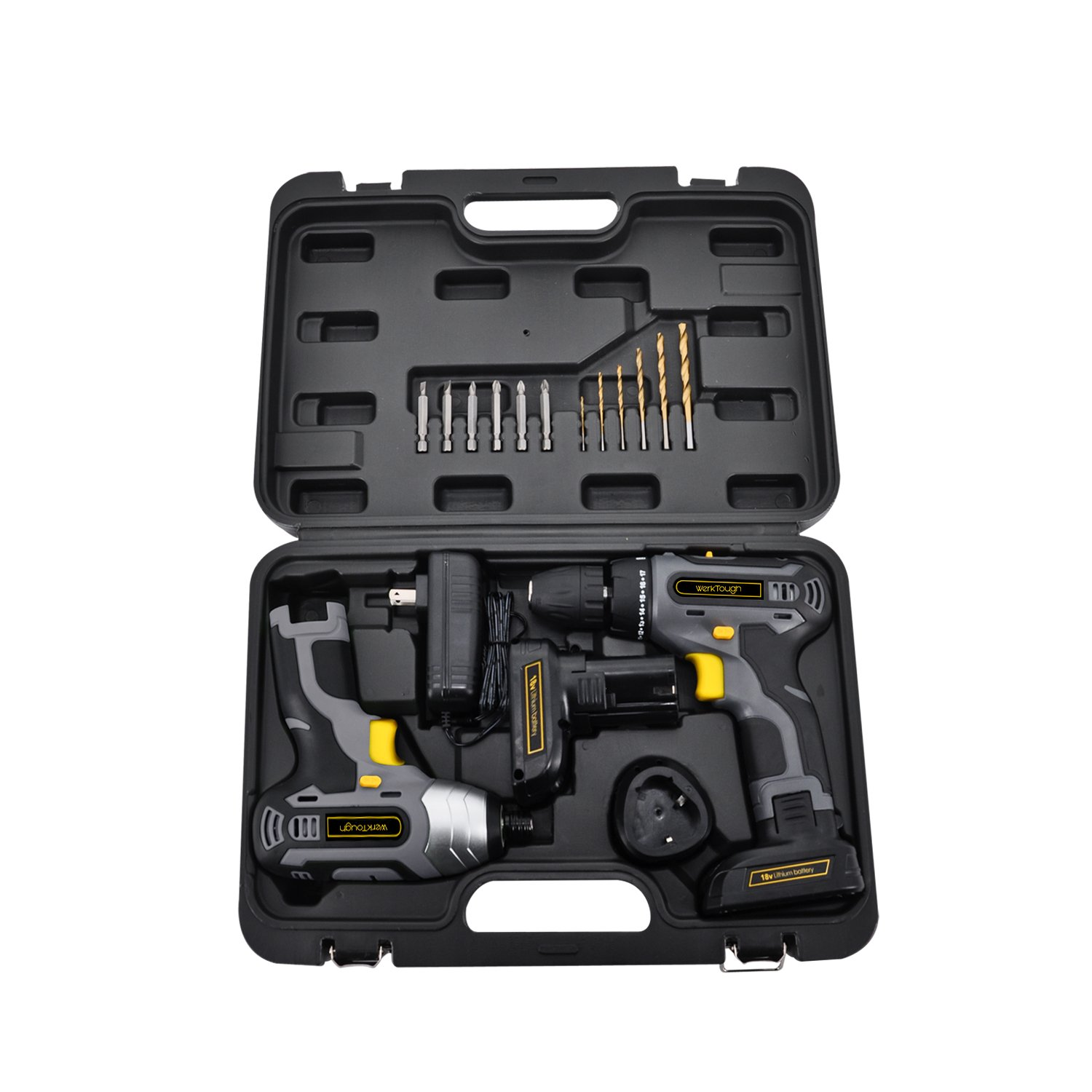Werktough CC006 Cordless Drill Driver Impact Screwdriver Kit Li-on Battery With Charger 1/4\