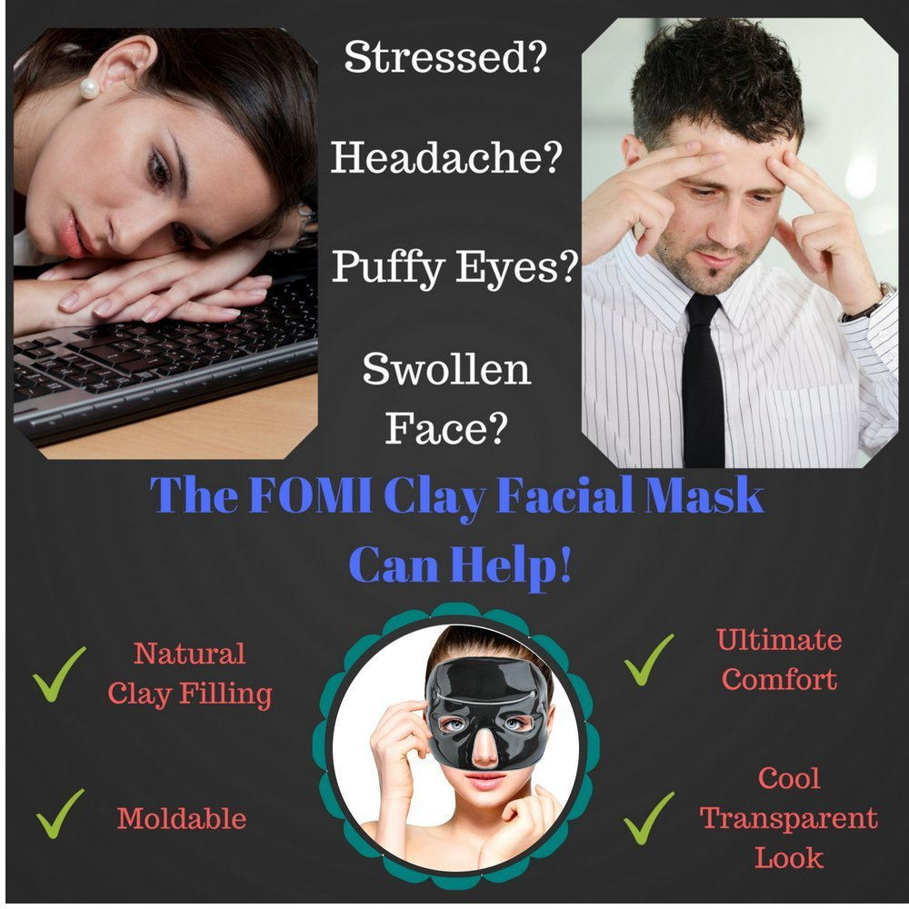 Cold Clay Facial Ice Mask by FOMI Care | Plus 2 Eye Compresses | Cooling Face Mask for Acne, Swollen Face, Puffy Eyes, Dark Circles, Headache, Migraine, Sinus Relief | Fabric Backing | Clay Filling by FOMI (Image #3)