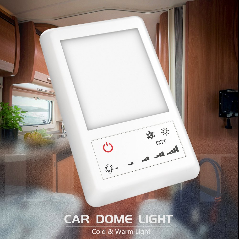 Jtron LED RV Dome Light 12V DC Interior Light with 5-Model Lighting Switch Perfect Interior Replacement 24V Lighting for RVs,Motorhomes,Campers,5th Wheels,Trailers Single