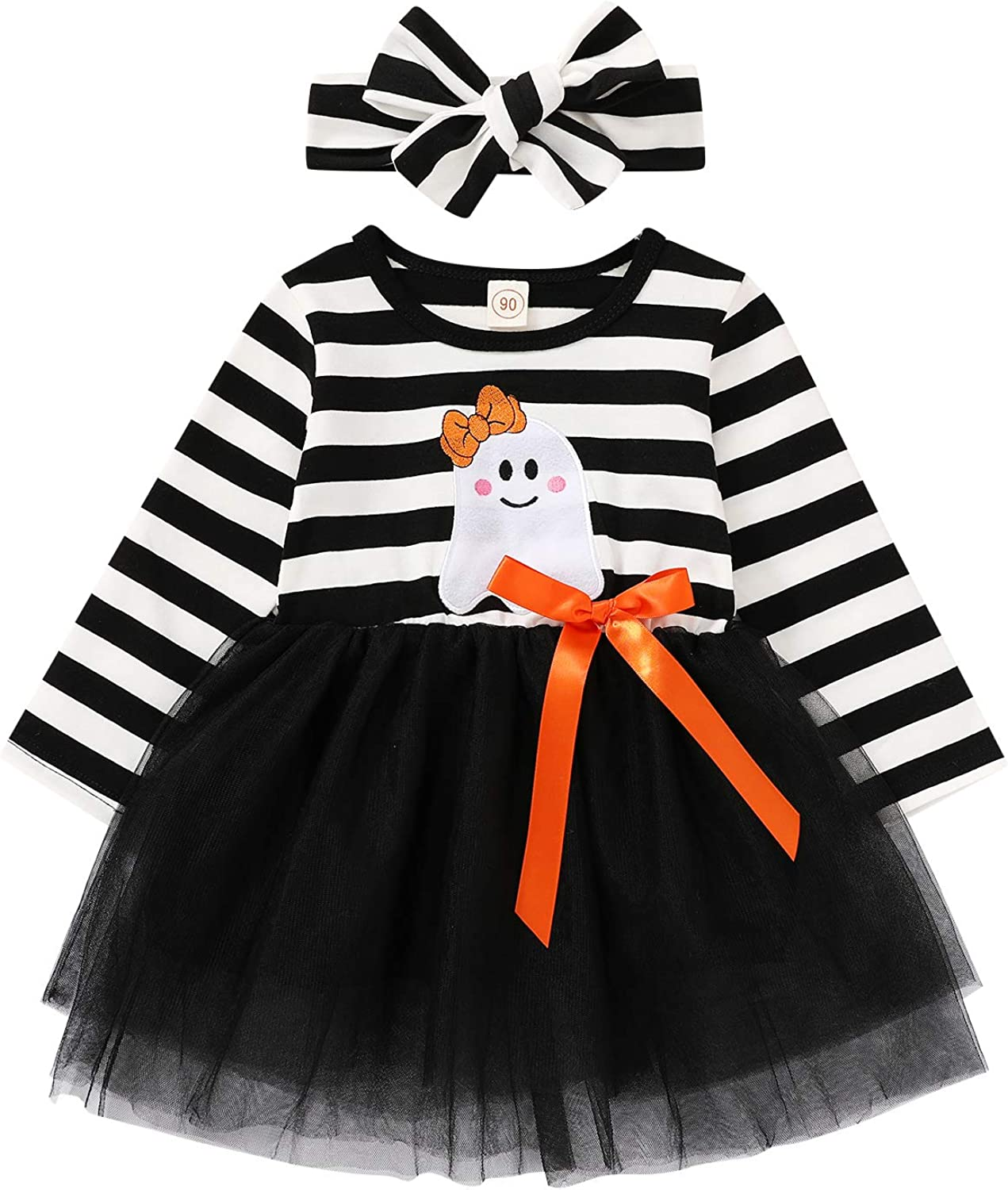 GRNSHTS Toddler Girls Thanksgiving Outfits Baby Little Turkey Striped Long Sleeve Dress Tutu Skirt Playwear with Headband