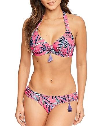 5a03873e20 Figleaves Womens Pattaya Underwired Halter Bikini Top Pink  Amazon.co.uk   Clothing
